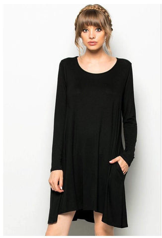 Long Sleeve Black Dress w Pockets