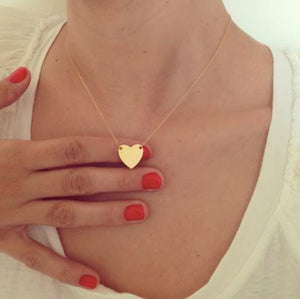 Flat Heart Necklace - Gold or Silver Tone