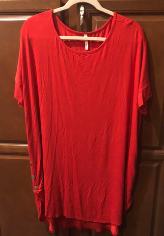 Plus Red Dress/Tunic w Button Detail