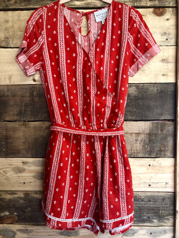 Red & White Romper