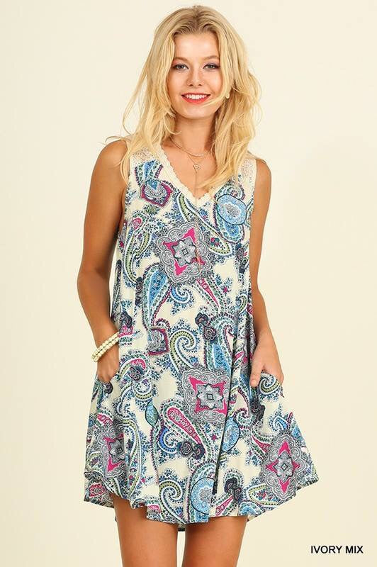 Umgee Ivory Paisley Mix Dress