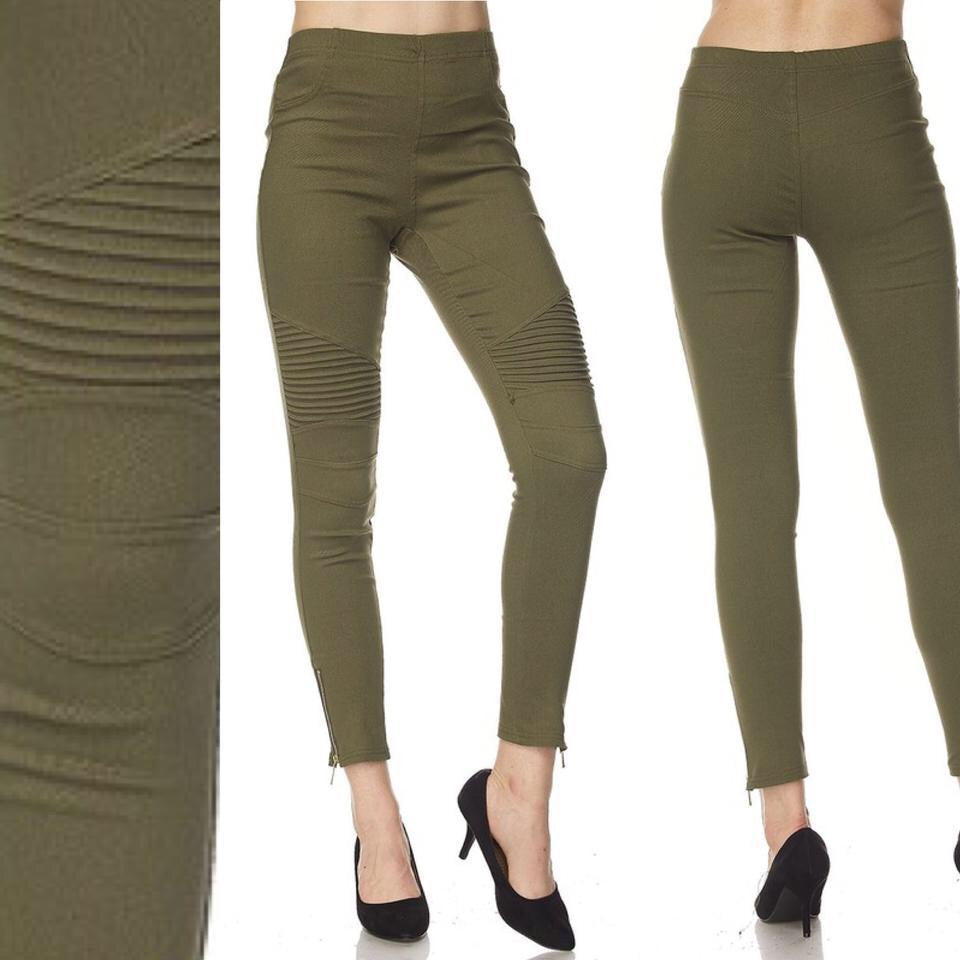 Olive Moto Jeggings w/Ankle Zipper size:Small
