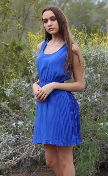 Stefanie Blue Pleated Dress (fitted/Juniors Sizing)