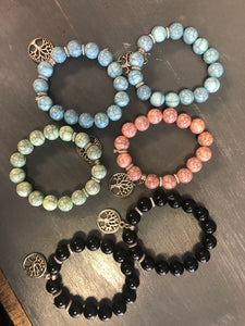 Blue Green Pink Black Tree of Life Stretchy Bracelets