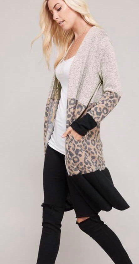 Leopard Color Block Cardigan (tan)