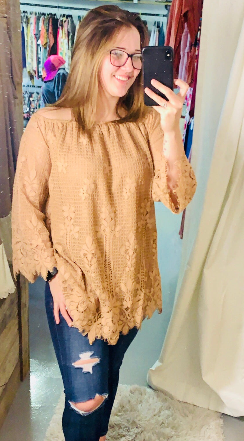 Lacy Lined Off Shoulder Tunic/Dress (oversized)