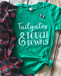 Tailgates & Touchdowns Green tee