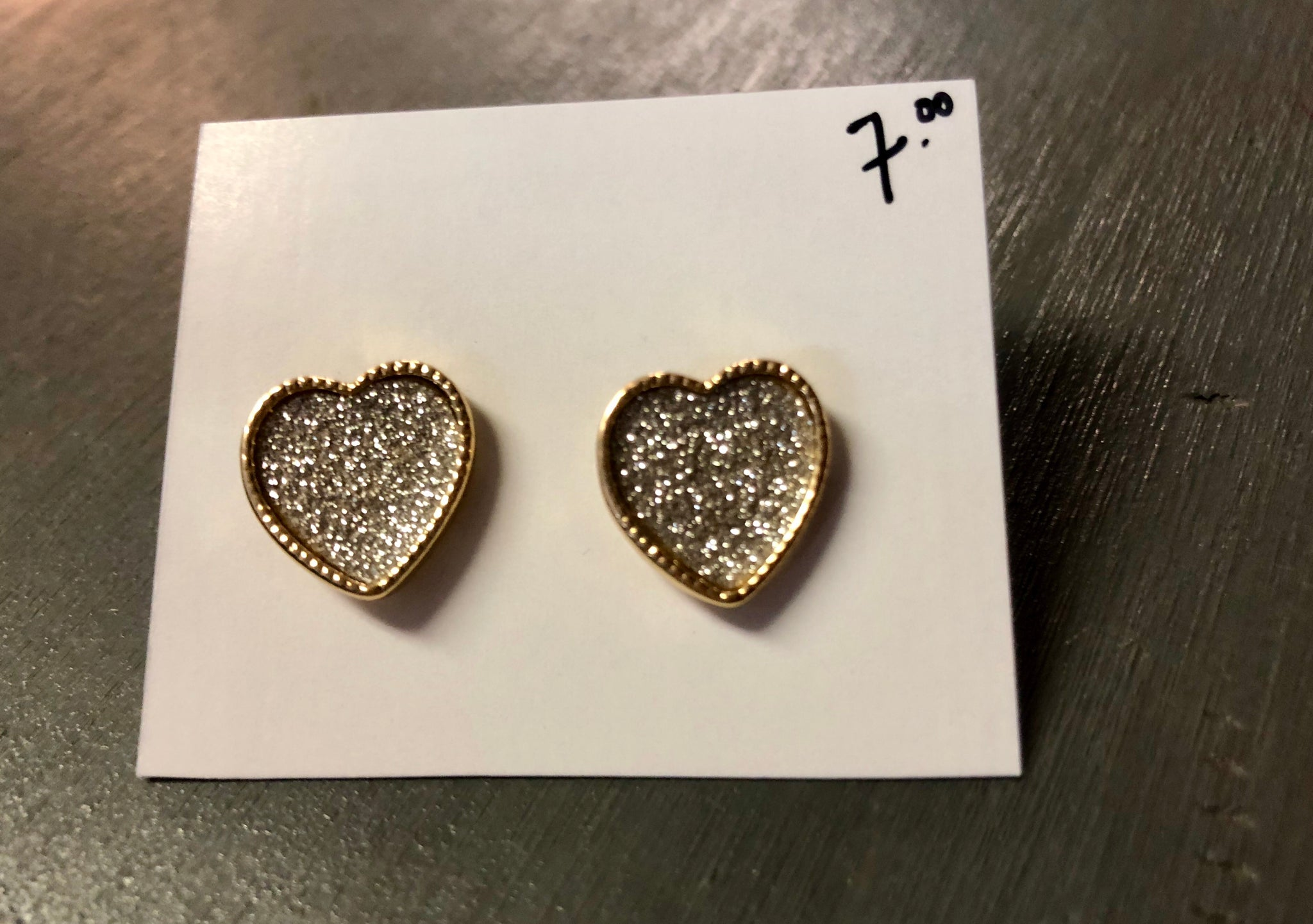 Glitter Heart Gold tone setting