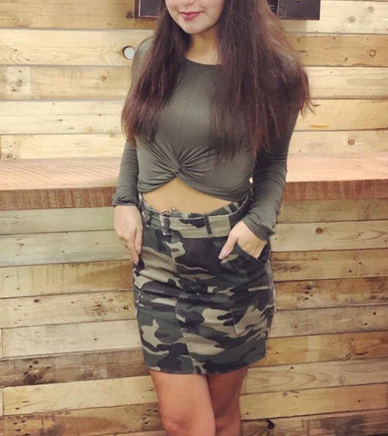 Angelina Belted Camo Skirt