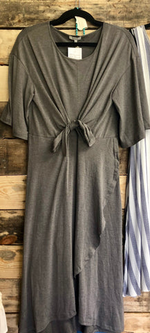 JodiFl Gray Tie Accent Dress