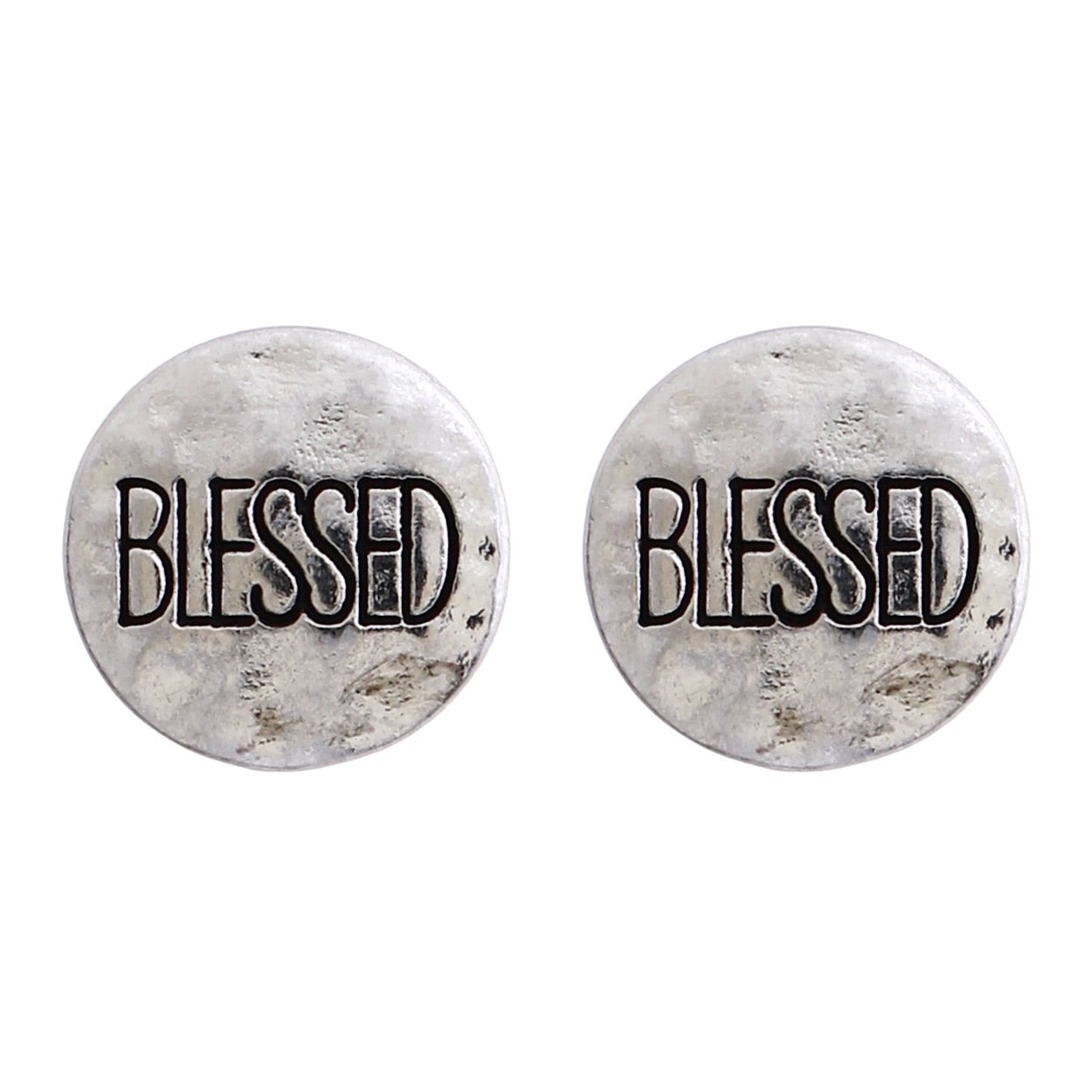 Blessed Hammered Silver Tone post earrings