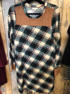 Green grass Multi Plaid Dress w/ pockets MEDIUM Relaxed Fit