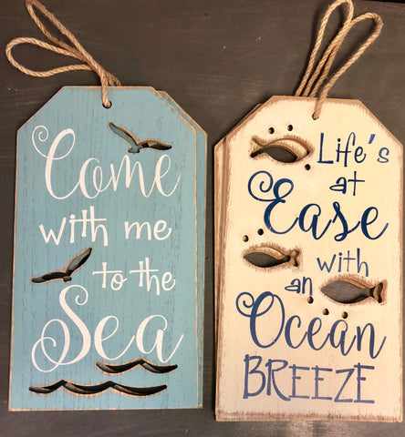 Sea & Ocean Wooden Signs w/ Rope Hanger