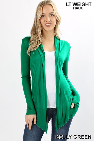 LONG SLEEVE WATERFALL DRAPE CARDIGAN Kelly Green