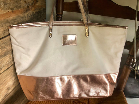 VS Genuine Brand Rose Gold/Canvas Weekend Bag