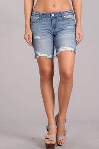 Celebrity Pink Frey Hem Side Slit Shorts