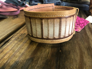 White /Brown Cuff Leather