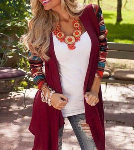 Aztec Sleeve cardi red - medium