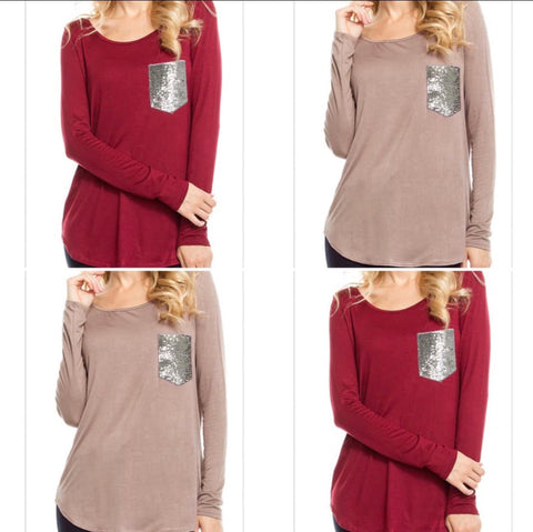 Sequin Pocket Long Sleeve Lightweight Top