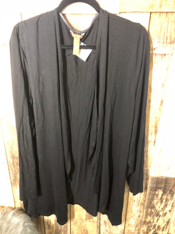 Black Waterfall Cardigan 2X