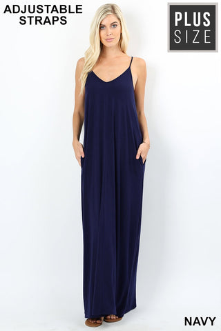 Plus Navy CAMI MAXI DRESS WITH POCKETS