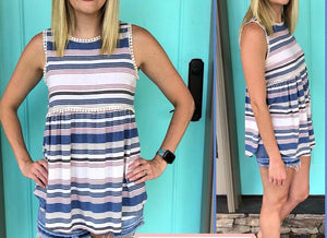 Striped Embellished Tank Medium