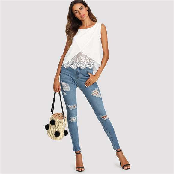 Anjella Lace-insert Overlap Sleeveless White Blouse