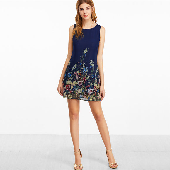 Annabel Flora Sleeveless Shift Dress
