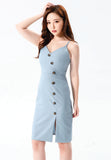 Ash-blue Buttoned Midi Dress