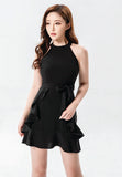 Merlot Black mini dress with belt & ruffles