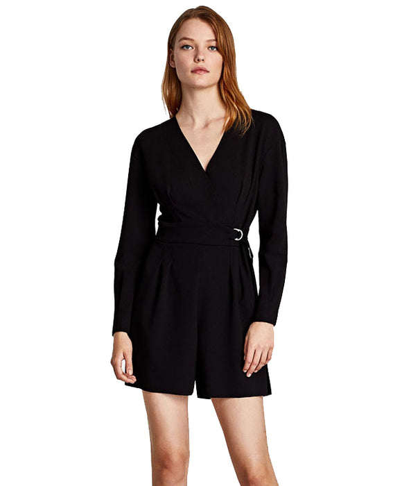 Black V-neck Romper