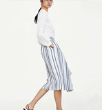 Linen Striped Midi Skirt with Belt