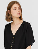 Celeste Short-sleeve Loose-fit Button-thru Blouse
