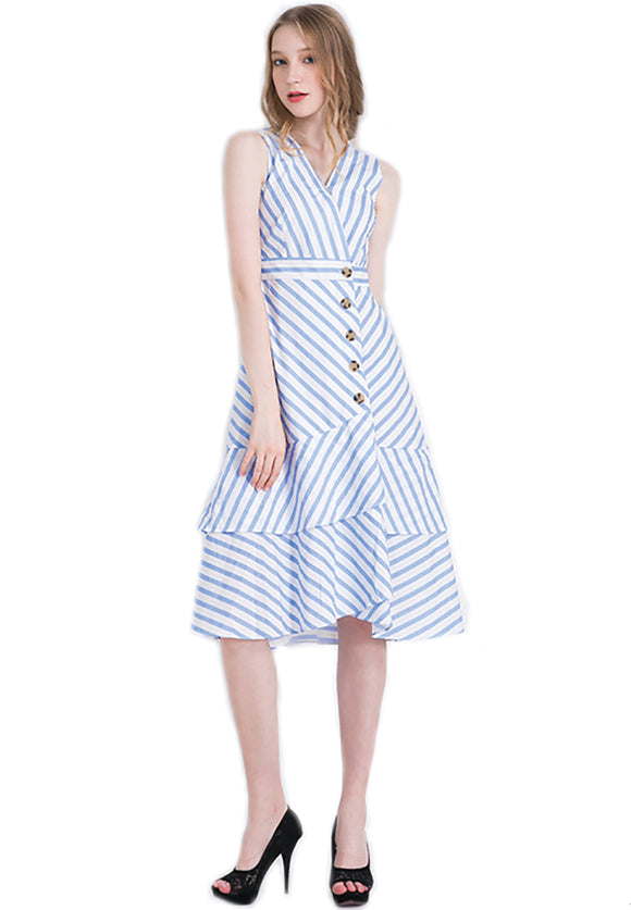 Estella Striped Buttoned Midi Dress with ruffled hemline