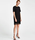 Carolina Black Dress with Tassle-hemline