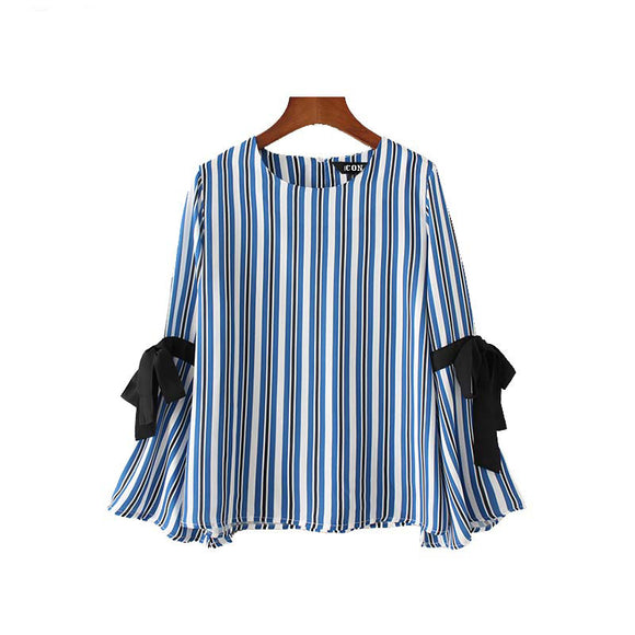 Eleanor Black Knot-bow Long-Sleeve Striped Blouse