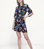 Floral-prints Plugging-back Romper