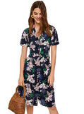 Floral Button-feature Midi Dress