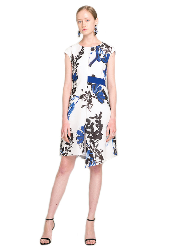 Contemporary Floral prints Mini Dress with Blue Belt