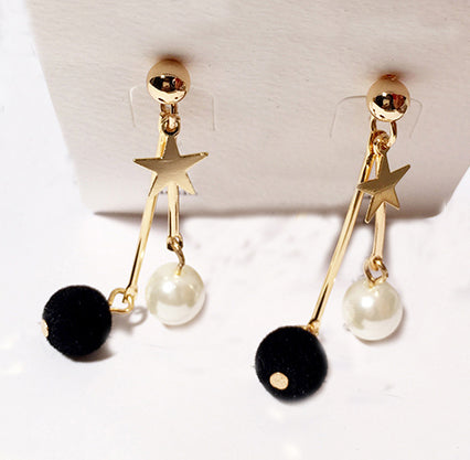 Initials Pearl-Drop With Furball and Star Earring