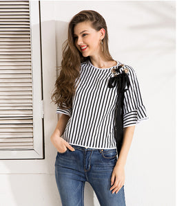 Isobel Bow-tie striped Blouse