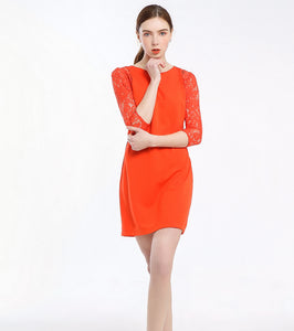 Karen orange Lace-sleeve Dress