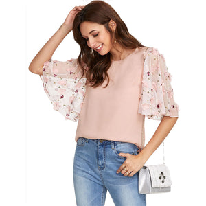Karla floral-Mesh-sleeve Blouse