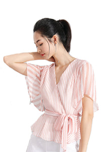 Kimono Overlap Striped Blouse with self tie belt