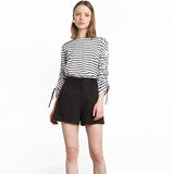 Marchesa Stripes jersey-tee with ribbon-tie sleeves