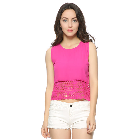 Mayer Black/Magenta Sleeveless Basic Crop Blouse