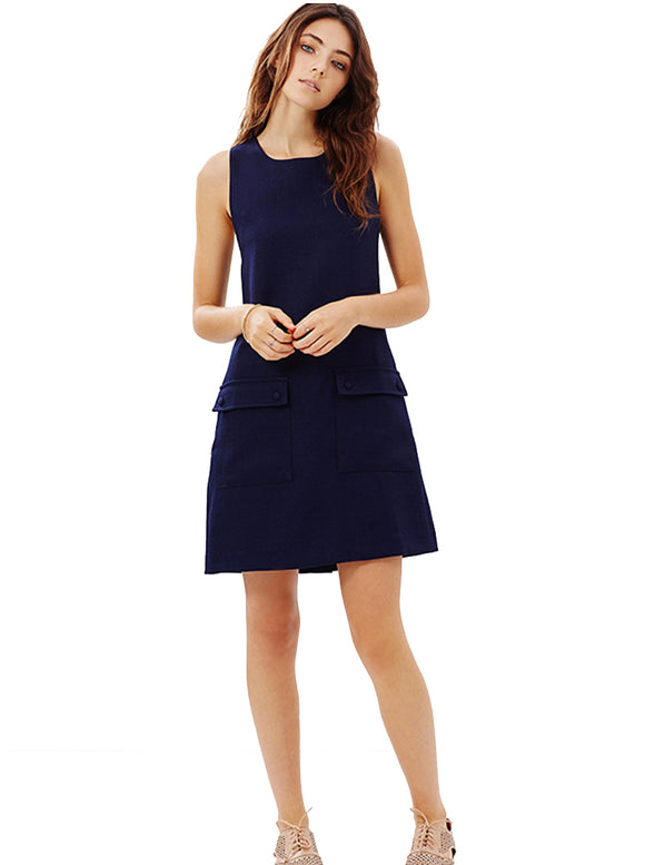 Navy-blue Sleeveless Shift Dress