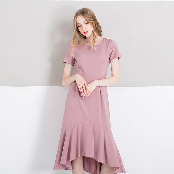 Pink Midi Dress with Asymmetrical Mermaid hemline