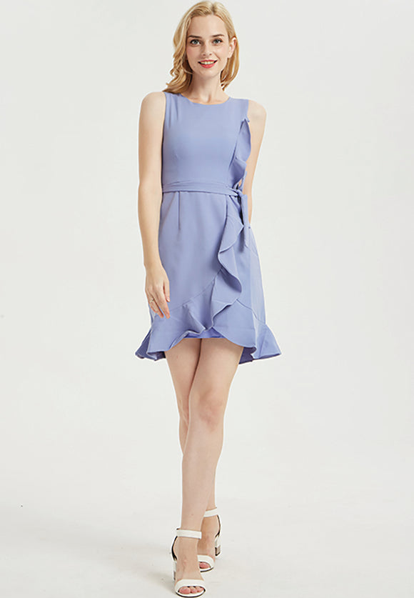 Periwinkle Cascading ruffles Mini Dress