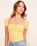 Cap-sleeve cotton-tee Top